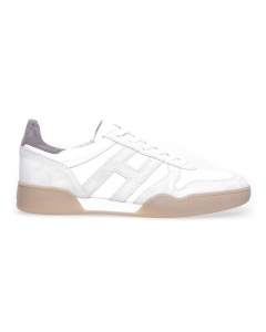 Sneaker Hogan H357 retro volley in camoscio e tessuto Bianco - Ghiaccio