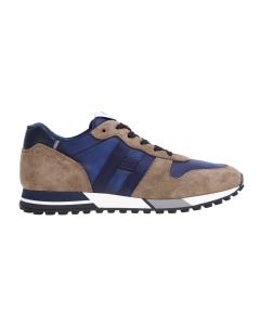 Sneaker Hogan H383 in camoscio e tessuto  Fango - Blu
