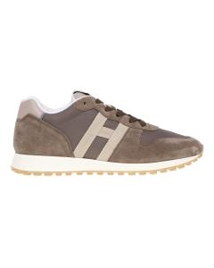 Sneaker Hogan in camoscio e tessuto Marrone