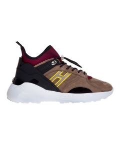 Sneaker Hogan Active One in nabuck e tessuto  Tortora - Bordeaux