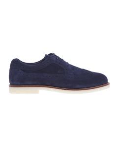 Stringata stile inglese Hogan con suola in para chiara e guardolo a contrasto Blu
