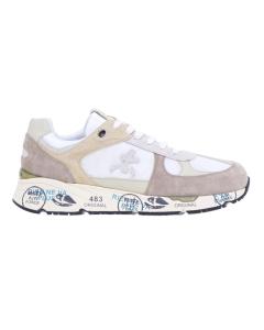 """Sneaker premiata """"mase"""" in camoscio e tessuto Bianco / Beige"""