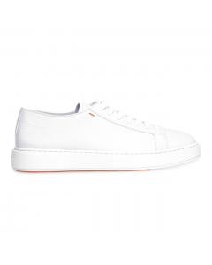 Sneaker Santoni in pelle martellata Bianco