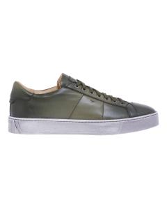 Sneaker Santoni in pelle supersoft tamponata   Verde