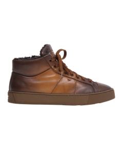 "Sneaker Santoni ""Gloria"" in pelle tamponata con montone Cognac"
