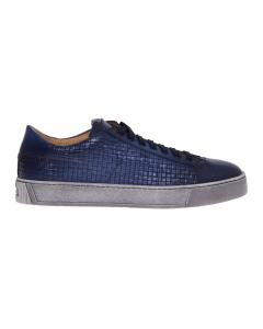 Sneaker santoni in pelle supersoft tamponata con stampa intreccio Blu
