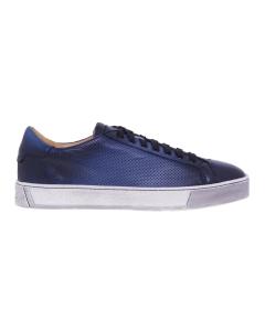 Sneaker Santoni in pelle tamponata e microforata Blu