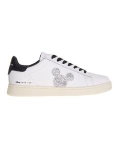 Sneaker moa - master of arts in pelle con topolino swarovski Bianco