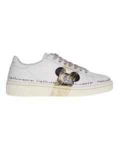 Sneaker moa - master of arts in pelle con fascia glitter oro e topolino nero sul lato Bianco