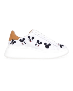 Sneaker MOA Doble Gallery in pelle con ricami Mickey Mouse  Bianco