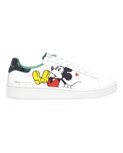 Sneaker MOA in pelle con stampa Mickey Mouse 3D Bianco