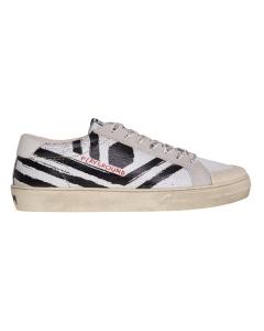 Sneaker moa - master of arts in pelle con stripes effetto dipinto  Bianco