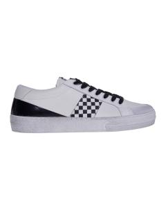 Sneaker moa in pelle con fascia a scacchi Bianco