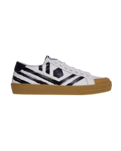 Sneaker moa in pelle con effetto dipinto a mano Bianco