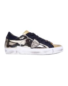 """Sneaker philippe model """"paris x"""" in pelle effetto specchio  Oro"""