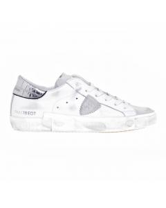 Sneaker Philippe Model Prsx Veau Croco in pelle e camoscio Bianco