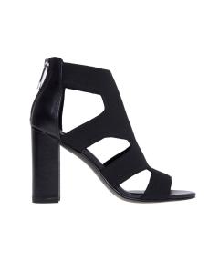 Sandalo/tronchetto in tessuto e pelle con tacco 90 mm Nero