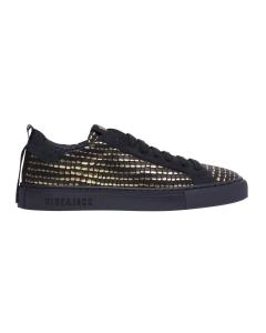 Sneaker Hide & Jack in pelle stampa rettile con dettagli gold Nero