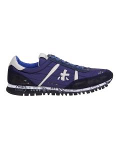 Sneaker premiata in tessuto e camoscio con splash Blu
