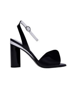 Sandalo what for in pelle bicolore con fascia arricciata Bianco