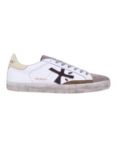 """Sneaker Premiata """"Steven"""" in pelle e camoscio   Bianco / Beige"""
