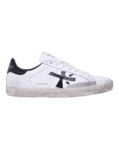 """Sneaker Premiata """"Steven"""" in pelle e camoscio   Bianco / Nero"""