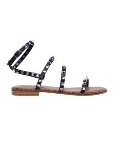 Sandalo flat Steve Madden in ecopelle con borchie piramide  Nero