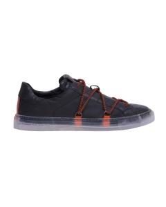 Sneaker Hide & Jack in pelle stampa cocco con lacci a contrasto  Nero