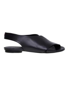 Sandalo flat halmanera in pelle con fasce incrociate  Nero