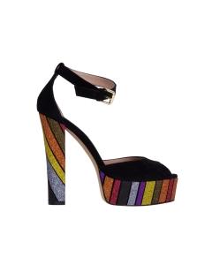 Sandalo roberto festa in camoscio e glitter a fasce multicolor Nero