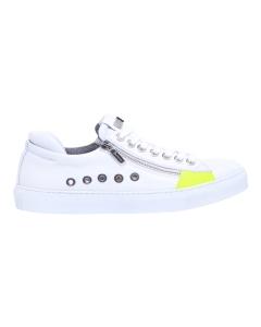 Sneaker paciotti 4us in pelle con zip laterali ed inserti fluo Bianco