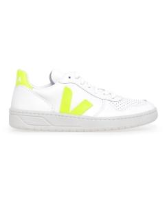 Sneaker VEJA V-10 in pelle  Bianco - Lime
