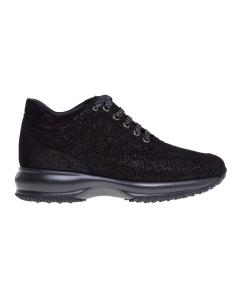 Sneaker hogan interactive in camoscio con effetto microglitter  Nero