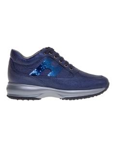Sneaker hogan interactive in pelle martellata e laminata con h pailettata Blu