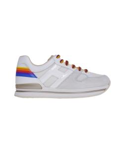Sneaker hogan h222 in camoscio e tessuto con tallone rainbow Grigio