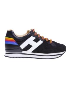 Sneaker hogan h222 in camoscio e tessuto con stampa rainbow Nero