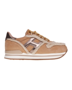 Sneaker hogan h222 in nabuck beige con inserti in lana  NO COLOR