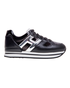 Sneaker hogan h222 in pelle e paillettes nere con dettagli argento Nero