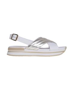 Sandalo hogan in pelle con fasce incrociate Platino - Arg.