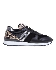 Sneaker hogan h261 in pelle e camoscio neri con talloncino in pitone Nero