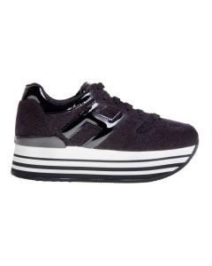 Sneaker hogan maxi platform in camoscio effetto microglitter nero  Nero