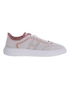 Sneaker hogan h365 in camoscio sfoderato e infilature a contrasto Grigio