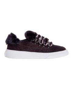 Sneaker hogan h365 in camoscio con effetto microglitter e applicazion in ecopelliccia Nero
