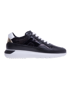 Sneaker Hogan Interactive 3 in pelle e paillettes Nero