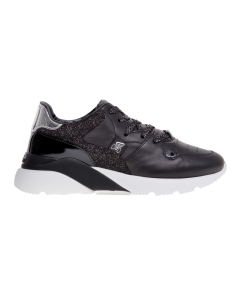 Sneaker hogan active one in pelle e glitter  Nero
