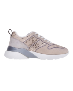 Sneaker active one in camoscio con pois gold Beige