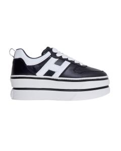 Sneaker hogan h449 in pelle metalizzata craclè con maxi platform Nero - Bianco