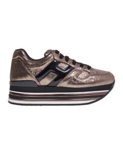 Sneaker hogan in pelle laminata e maxi platform Bronzo