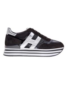 Sneaker hogan new h222 in nabuck e tessuto lucido nero Nero