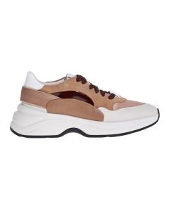 Sneaker Santoni in pelle e tessuto con dettagli in camoscio  Cipria